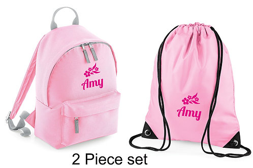 Personalised backpack & gymsac with flowers logo and childs name