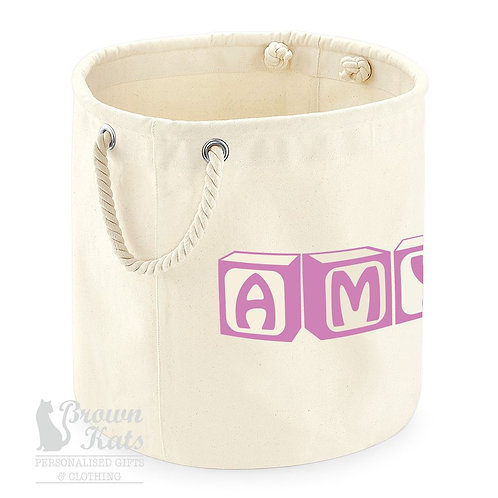 Personalised canvas storage trug
