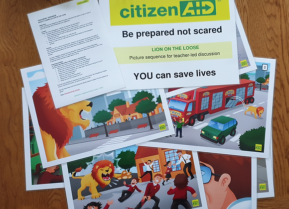 citizenAID's Lion on the Loose - A3 Size School Pack (Including Moggy's Coming)