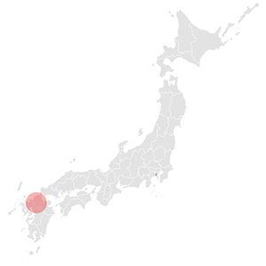 日本地図に九州福岡県小石原の場所をマークした物です。小石原は大分県の境目にあって、山を超えた大分県の小鹿田の産地と近くです。