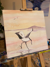 Crane on a lake