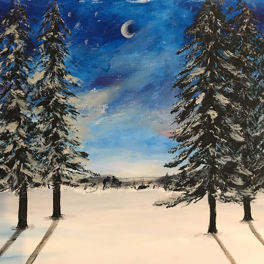 Paint a midnight winter forest - Online event