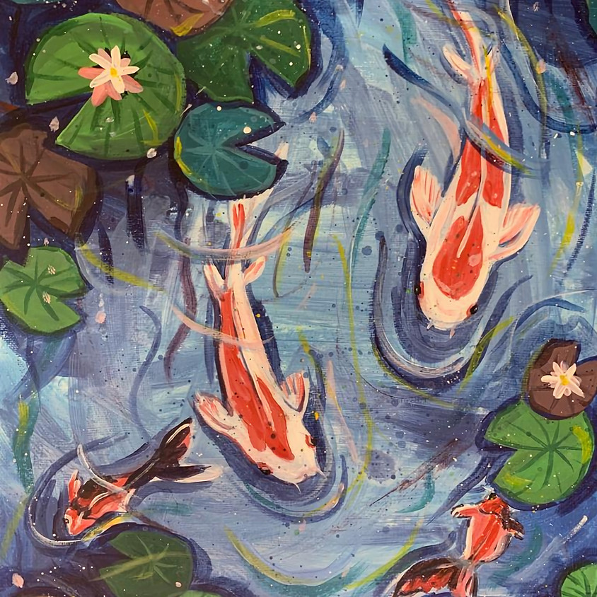 Paint fish in a pond - Online painting event