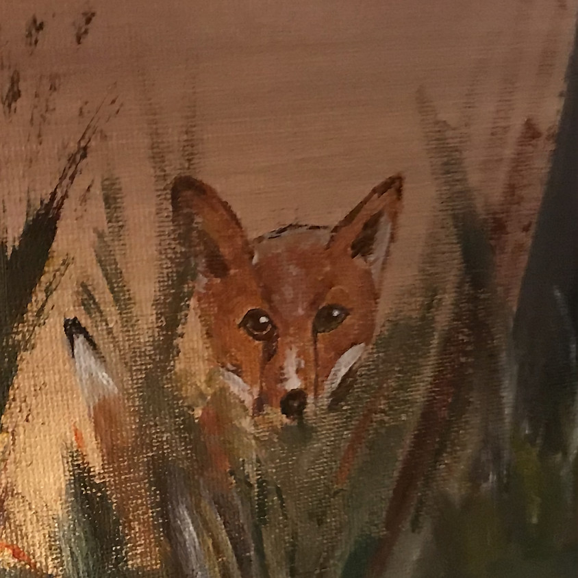 Paint a fox in a forest - Online painting event
