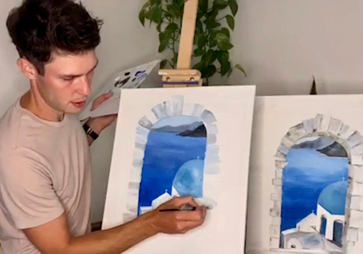 painting Santorini online