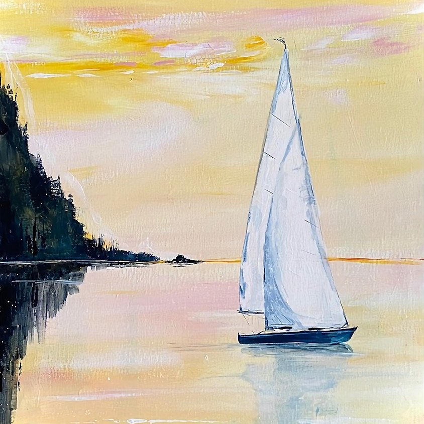 Paint a sailing boat on a lake  - Online painting event