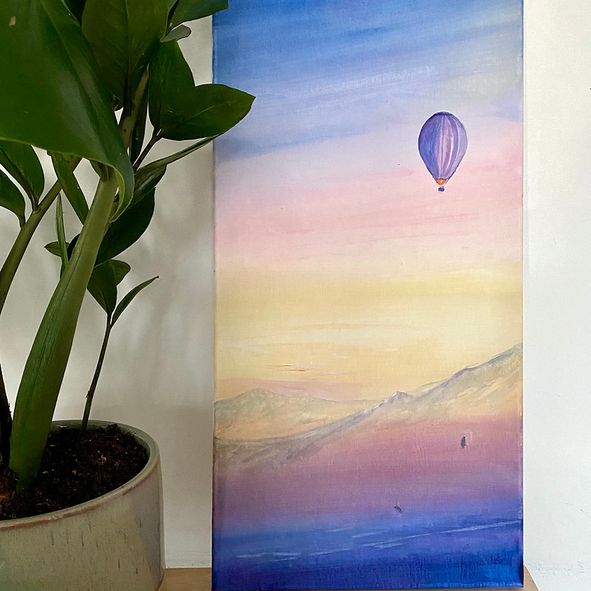 Paint a sunset with hot air balloon - Online event