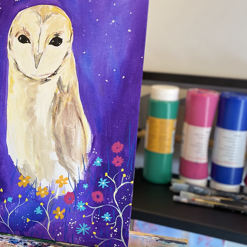Paint an owl - Online painting event