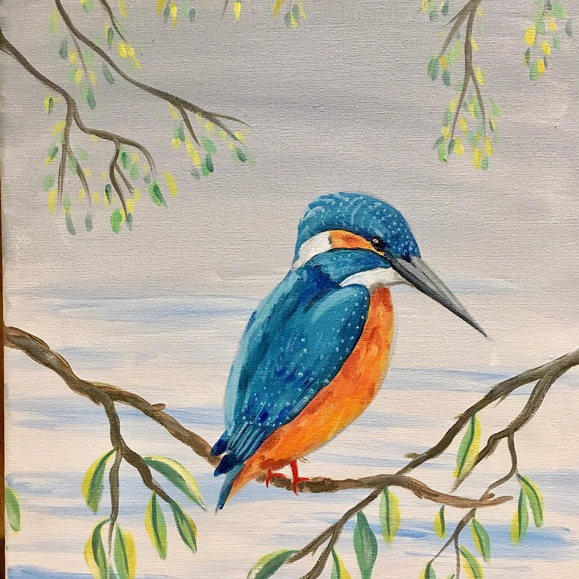 Paint a kingfisher - Online painting event