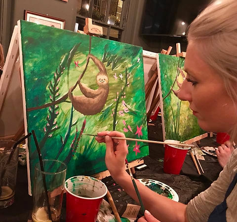 No matter the venue, our painting classes are always fun!