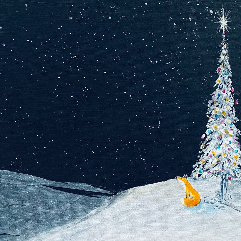 Paint a Christmas fox and tree  - Online event