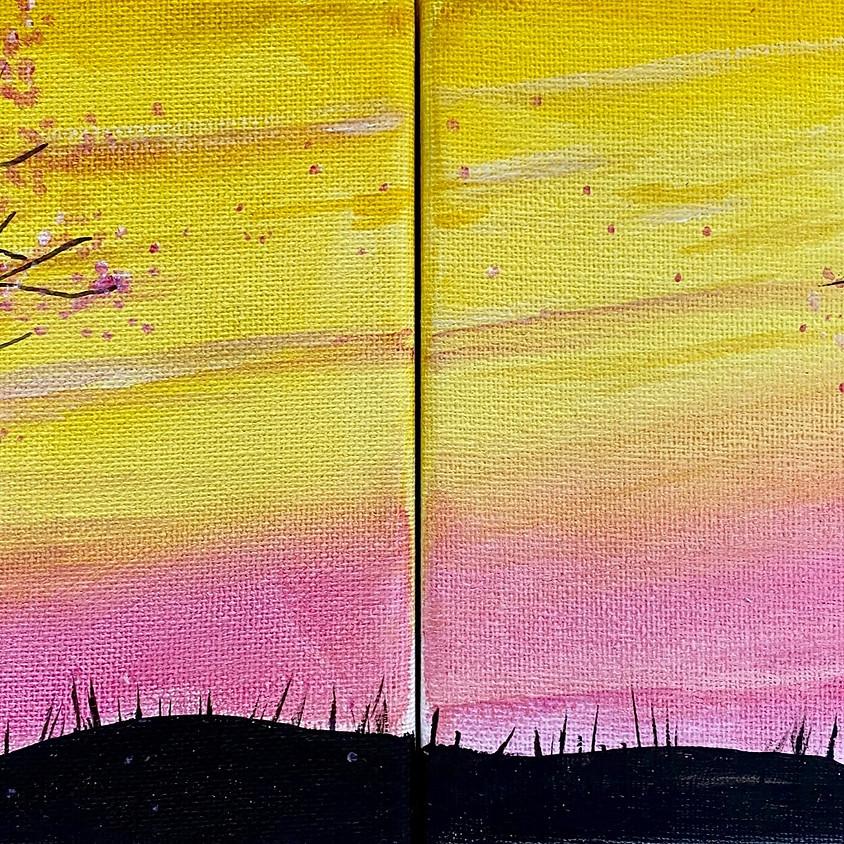 Paint a sunset landscape  - Online event
