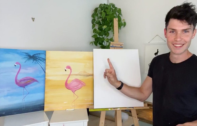Pink flamingo or blue famingo?