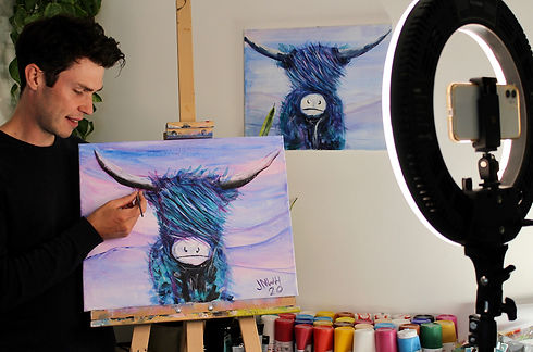 demonstrating how to paint a cow virtual