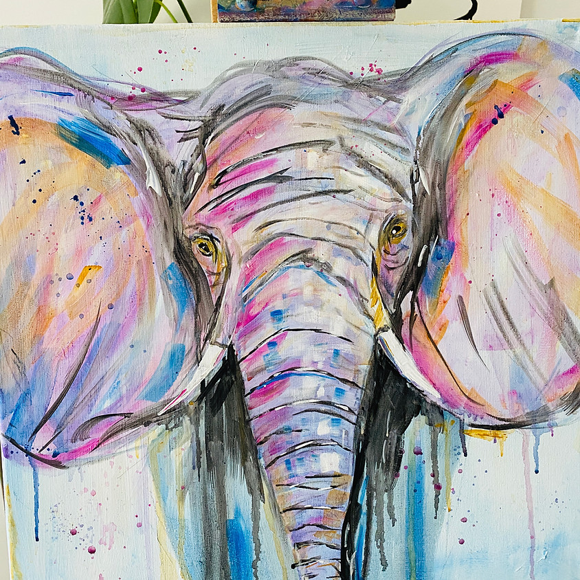Paint a colourful elephant - Online painting event
