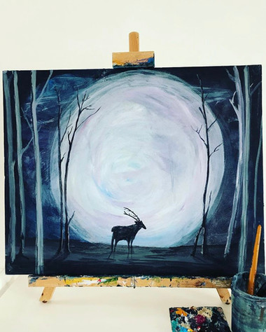 Stag and moon
