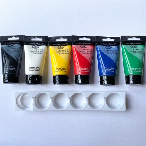 Pack of six 75ml acrylic paints