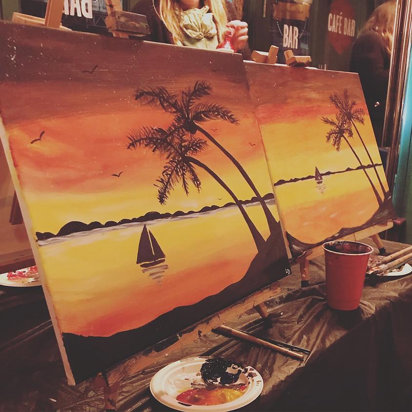 Paint a tropical beach - Online event
