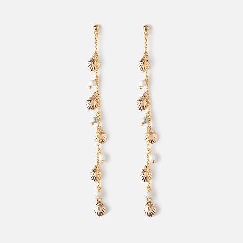 Boucles d'oreilles pendantes coquillage et perles