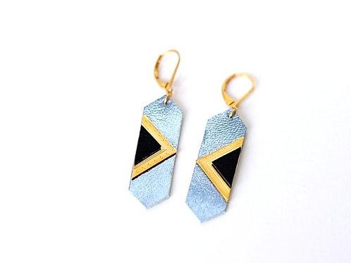 Boucles d'oreilles Louvre bleu princesse et or