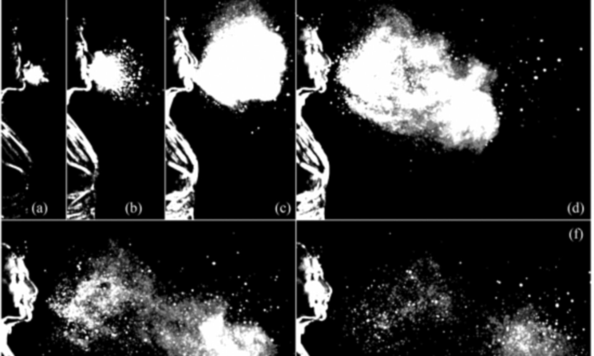 High-speed video images of a sneeze recorded at 1,000 frames per second shown at times in seconds:  a) 0.006, b) 0.029, c) 0.106, d) 0.161, e) 0.222, and f) 0.341 seconds.