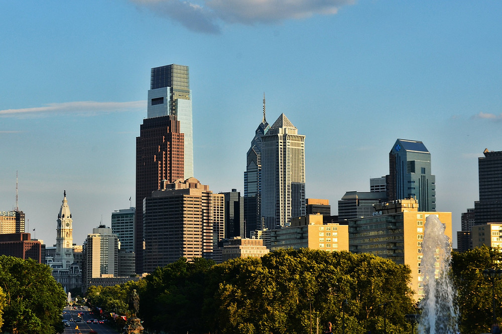 The Philadelphia skyline from a distance.