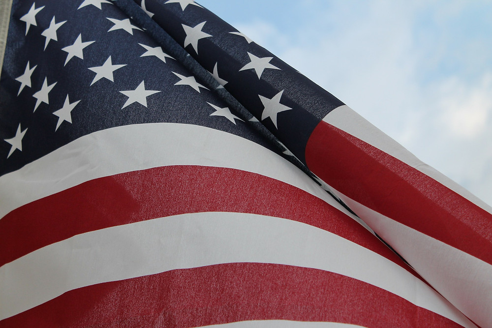 Closeup of the American flag.