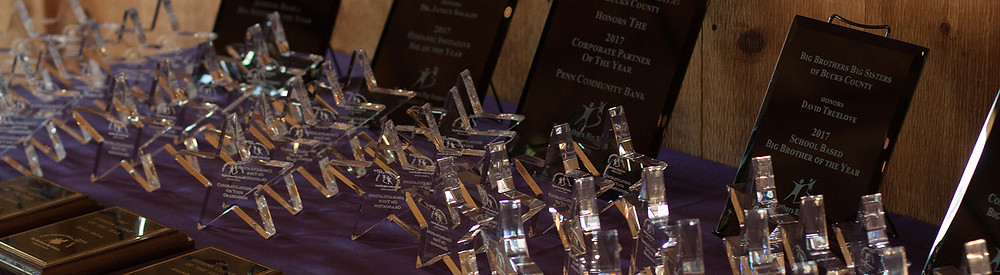 A table of awards at a BBBSBC ceremony.