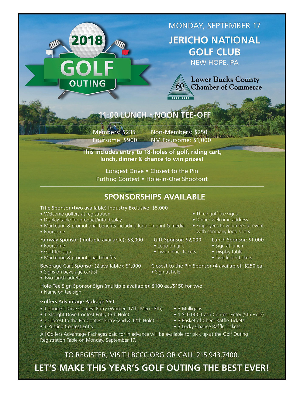Flyer for the LBCCC 2018 Golf Outing including sponsorship information and prices.
