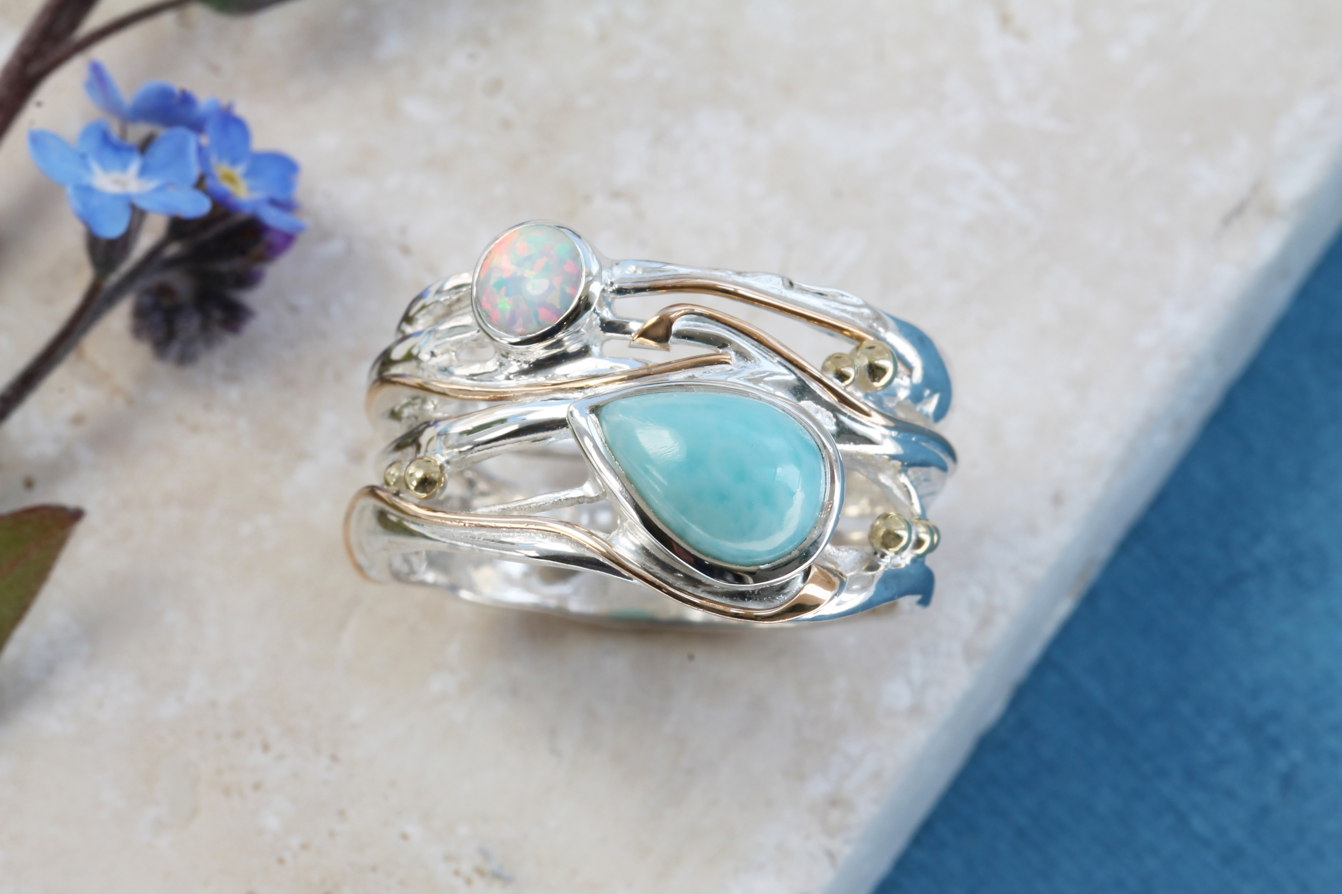 Larimar & White Opal Ring in Sterling Silver with Gold details
