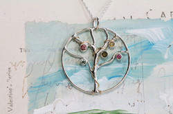 Tree Of Life Pendant with mixed Tourmalines in Sterling Silver