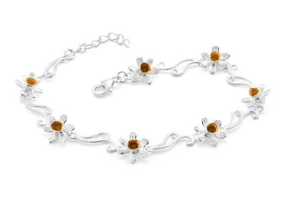 Daffodil Bracelet in Sterling Silver with Gold Details