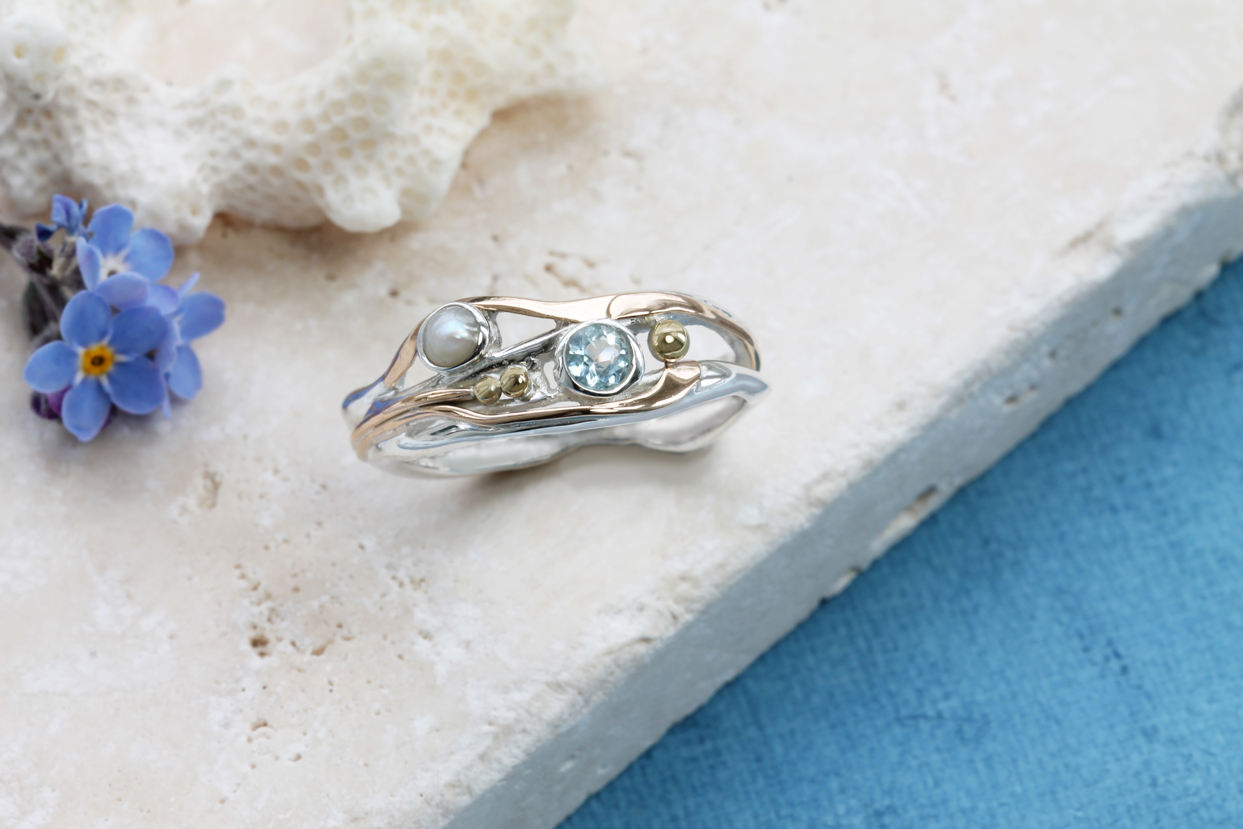 Blue Topaz & Pearl Ring in Sterling Silver with Gold details