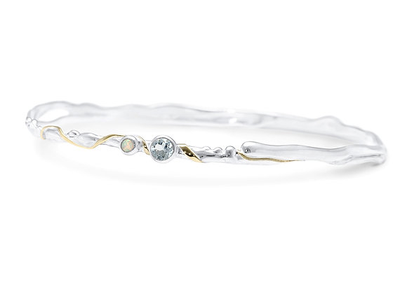 Blue Topaz and Opalite Bangle in Sterling Silver