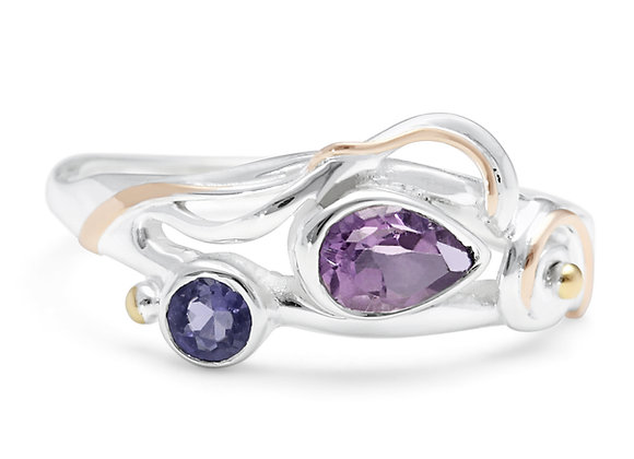 Amethyst & Iolite Ring in Sterling Silver with Gold Details