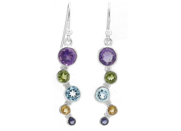 Multi Stone Drop Earrings in Sterling Silver