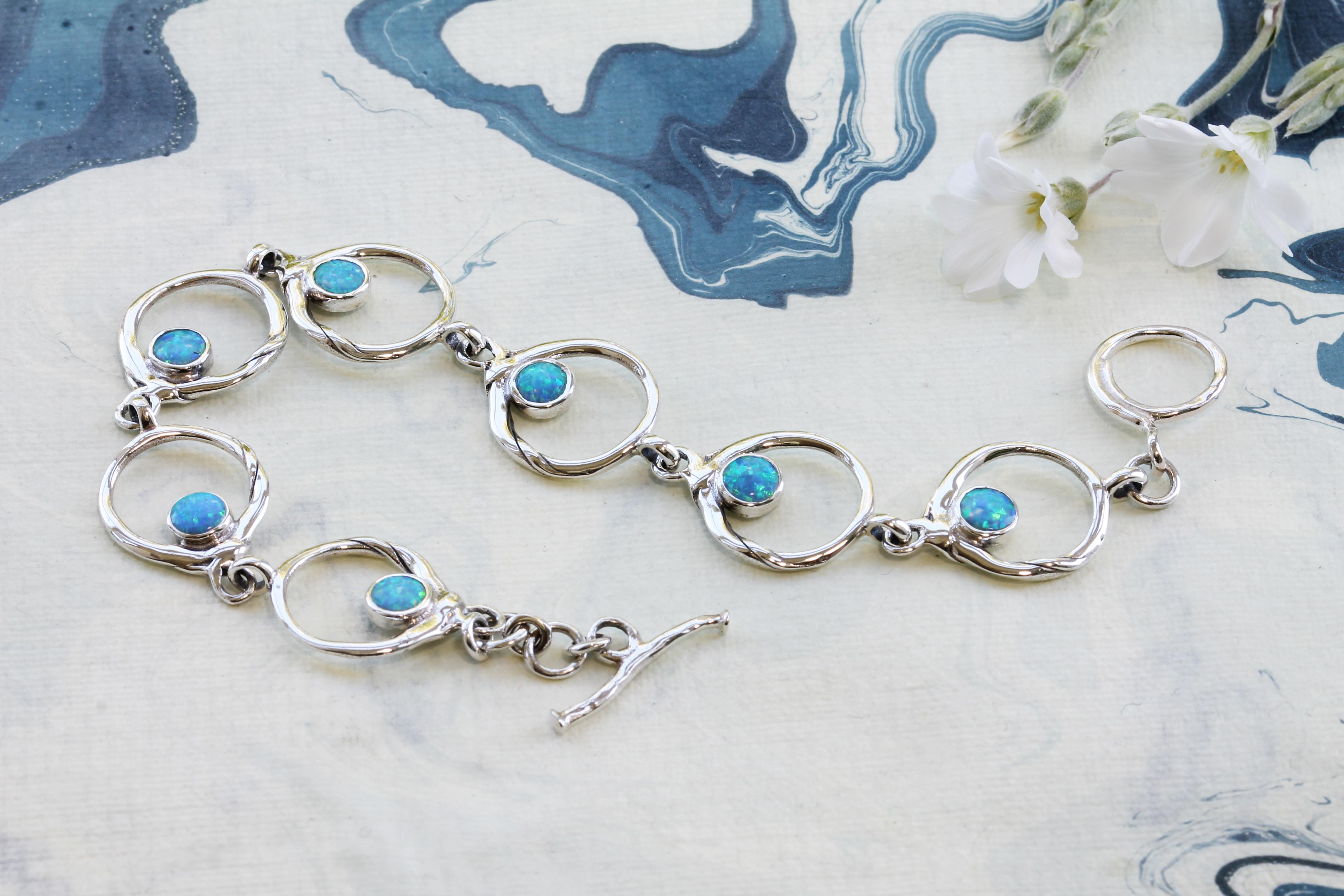 Blue Opalite Bracelet in Sterling Silver