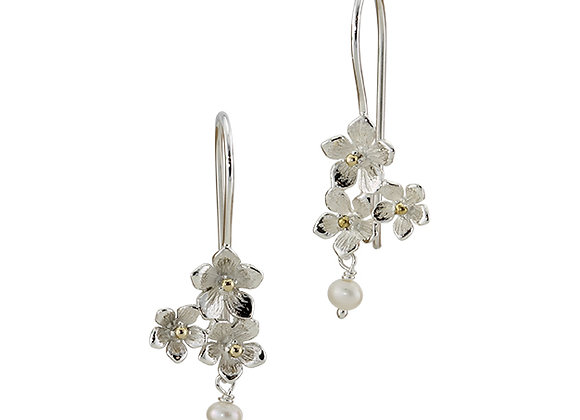 Sterling Silver Earrings with Trio of Flowers & Pearls