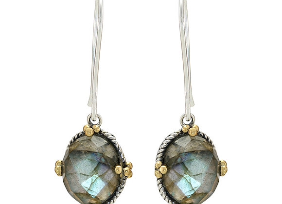 Faceted Labradorite Earrings in Sterling Silver with Brass details