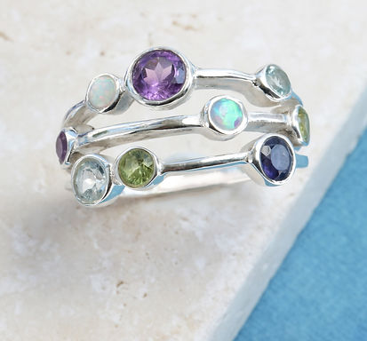 Isla Silver handmade triple band silver ring with mixed gemstones including amethyst, opal, blue topaz, iolite and peridot