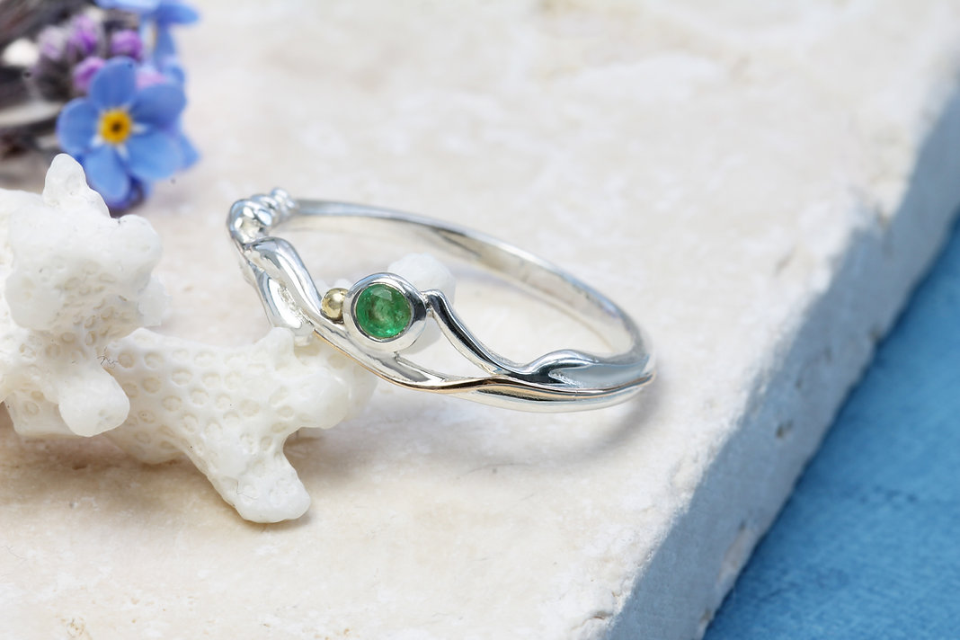 Isla Silver handmade delicate silver and emerald ring with gold details