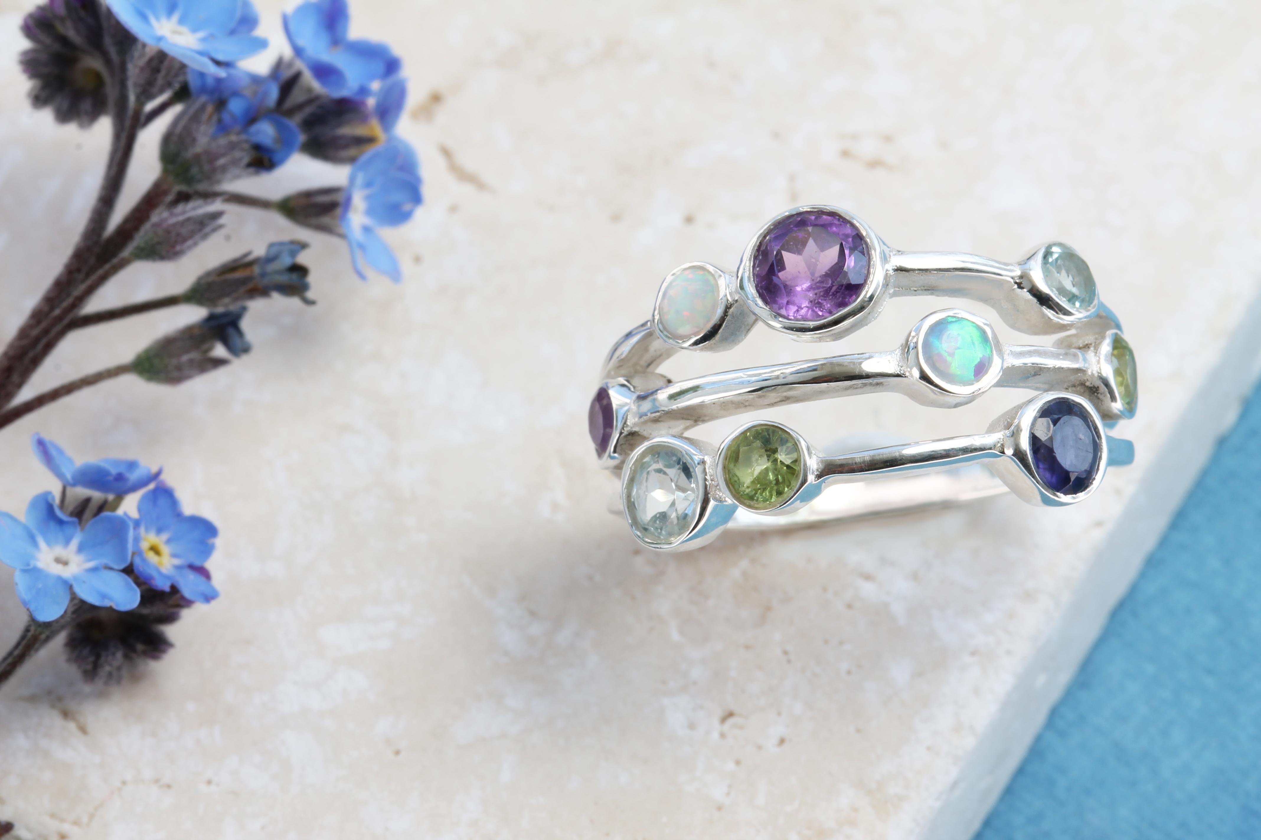 Amethyst, Blue Topaz, Opalite, Peridot & Iolite Ring in Sterling Silver