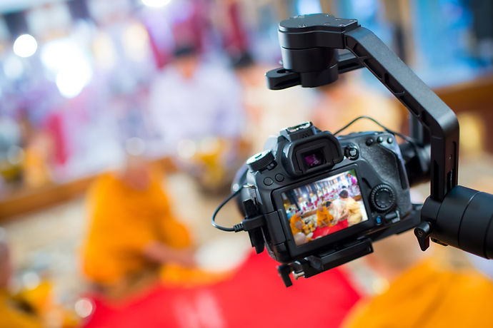 Steadicam with DSLR camera for video production are shooting movie in wedding ceremony. st