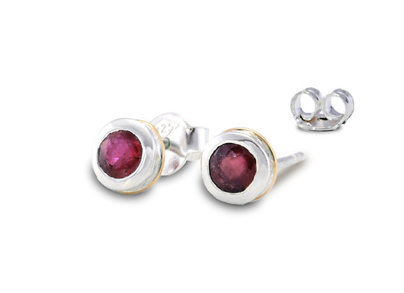 Ruby Stud Earrings in Sterling Silver