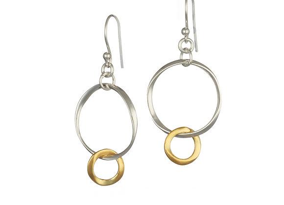 Hoop Earrings Sterling Silver & Gold