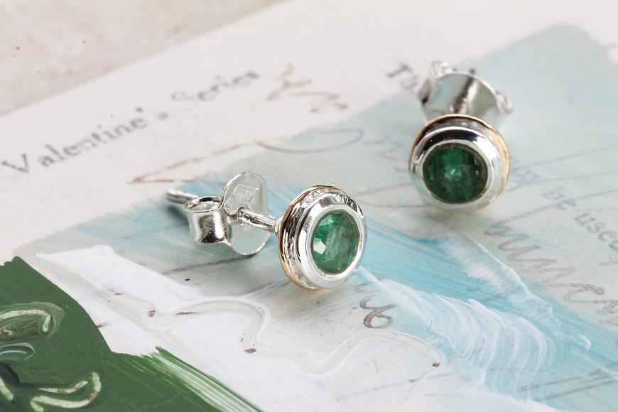 Isla Silver handmade silver emerald stud earrings