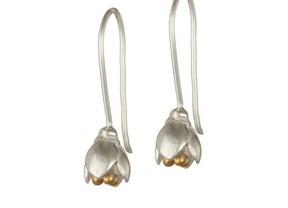 Flower Bud Drop Earrings in Sterling Silver