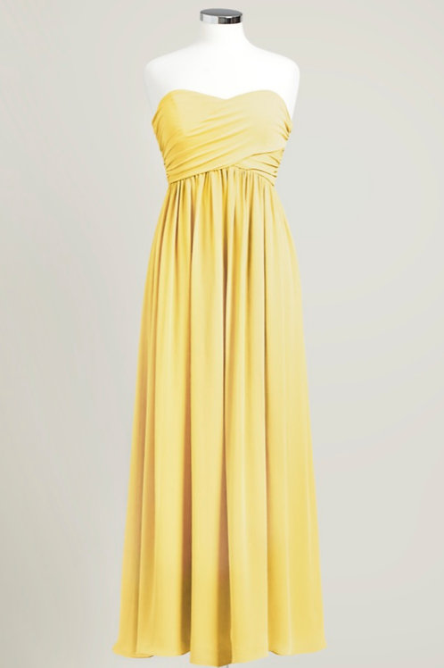 Yellow bridesmaid dress sweetheart strapless floor length chiffon used