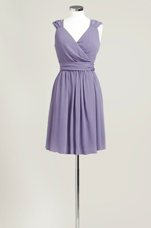 Dusty purple bridesmaid dress chiffon wrap knee length cheap used