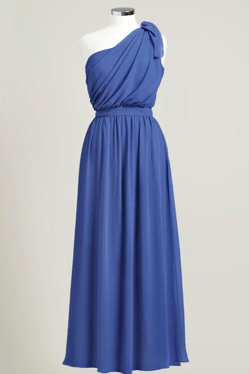 Royal blue bridesmaid dress one shoulder chiffon floor length